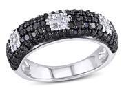 1 CT Black and White  Diamond TW Fashion Ring Silver GH I2&#59;I3 Black Rhodium Plated