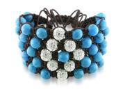 Cubic Zirconia and Turquoise Bead Shamballa Brown Cotton Cord Cuff Bracelet