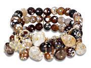 300 CT TGW Multi-Color Brown Agate, Goldtone and Quartz Beads Stretch Bracelet