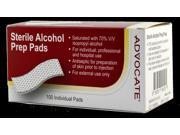 Advocate Sterile Alcohol Prep Pads - 100 Individual Pads