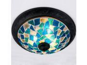 Mediterranean Blue Glass Bedroom Ceiling Light Fashion Mosaics Study Room Ceiling Lights Kitchen Bathroom Ceiling Lamp