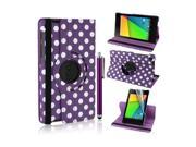 Moonmini Polka Dot Pattern 360 Degrees Rotation PU Leather Folding Stand Flip Case Cover for Asus Google Nexus 7 2 II Tablet (Launched July 2013) + Free Stylus + Screen Film (Purple)