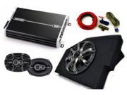 "Kicker Dodge Ram 02-15 Loaded box with 10"" Comp woofer w/ grille, 4 channel Amp, pair of 6x9 DS speakers w/ wiring kit."