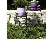 "Panacea 20.25"" Contemporary 3-Tier Round Fold Out Plant Stand - Steel (Black)"