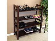 D-Art Home Indoor Outdoor Mahogany Wood Veranda 4 Tiers Decorative Shoes Shelf Rack