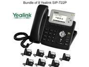 Yealink SIP-T22P Bundle of 8 Enterprise HD IP Phone 3 Lines HD voice PoE LCD