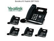 Yealink SIP-T42G Bundle of 5 Dual Gigabit IP Phone 12-Line HD voice PoE LCD XML