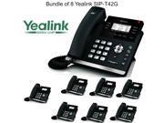 Yealink SIP-T42G Bundle of 8 Dual Gigabit IP Phone 12-Line HD voice PoE LCD XML