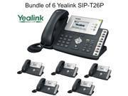 Yealink SIP-T26P Bundle of 6 Enterprise IP Phone with 3 lines HD voice PoE LCD