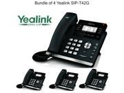 Yealink SIP-T42G Bundle of 4 Dual Gigabit IP Phone 12-Line HD voice PoE LCD XML