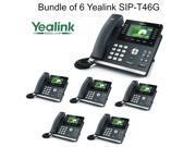 Yealink SIP-T46G Bundle of 6 IP phone Dual Gigabit 16 Line PoE 4.3 Color LCD USB