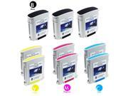 9 PACK: HP Compatible 940xl (3 Blacks and 6 Colors) 3-C4906AN 2-C4907AN 2-C4908AN 2-C4909AN HIGH YIELD Large 940 XL