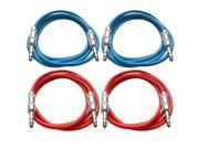 """SEISMIC AUDIO - SATRX-6 - 4 Pack of 6' 1/4"""" TRS to 1/4"""" TRS Patch Cables - Balanced - 6 Foot Patch Cord - Blue and Red"""