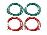 """SEISMIC AUDIO - SATRX-6 - 4 Pack of 6' 1/4"""" TRS to 1/4"""" TRS Patch Cables - Balanced - 6 Foot Patch Cord - Green and Red"""