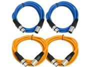 SEISMIC AUDIO - SAXLX-6 - 4 Pack of 6' XLR Male to XLR Female Patch Cables - Balanced - 6 Foot Patch Cord - Blue and Orange