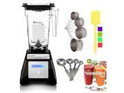 Blendtec TB-631-20 Total Blender with Four Side (Black) + Smoothies Bible Cookbook and Kitchen Accessory Bundle