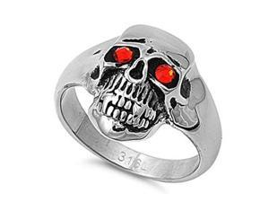 Stainless Steel Casting Ring with Garnet CZ Stones - Skull