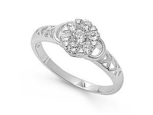 Silver Ring with Clear CZ - Size :5 to 9