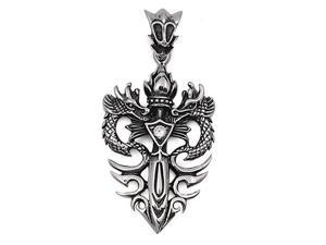 Steel Pendant  - Sword with Dragon