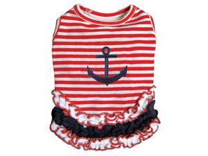 Cute and Stripy Dog Sailor Shirt with Ruffles - XL
