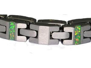 "8"" x 1/4"" tungsten carbide bracelet green/white  Precious opal, nice fire"
