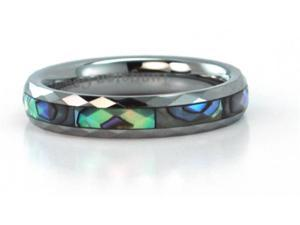 Narrow faceted tungsten carbide ring with mother of pearl inlays