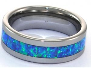 8mm Precious Opal Tungsten Carbide Ring with Blue Inlays