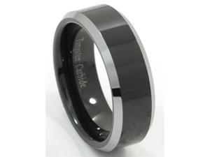Tungsten Carbide Ring Plated Black with Natural (Silver) Beveled Edges (Size 5.5 - 15 Available)