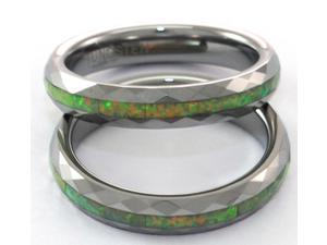 Narrow faceted tungsten carbide ring with green opal inlay