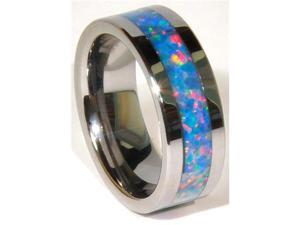 8mm Precious Opal Tungsten Carbide Ring with Red/Green Inlays