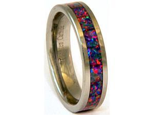 6mm Precious Opal Tungsten Ring with a Brilliant display of Fire