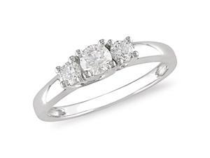 14K White Gold 1/2 Carat Diamond 3-Stone Engagement Ring - IGL Certified (G-H,I2-I3)