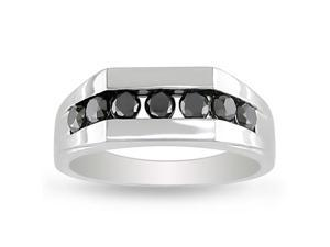 1 cttw. Men's Black Diamond 10k White Gold Ring