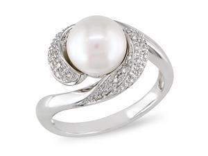 1/10 CT Diamond TW 8 - 8.5 MM White Freshwater Pearl Fashion Ring Silver GHI I3