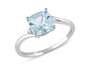 0.01 CT Diamond TW And 1 3/4 CT TGW Blue Topaz - Sky Fashion Ring 10k White Gold