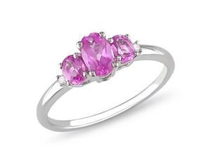 Amour Collections 10k White Gold 3-Stone 0.02ct TDW Diamond and 1 1/4ct TGW Created Pink Sapphire Ring - Size 6.5