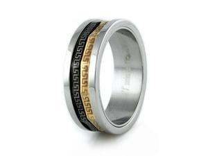 Stainless Steel Men's Ring w/ Greek Design