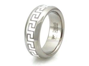Titanium-Ceramic Ring w/ Greek Design Inlay