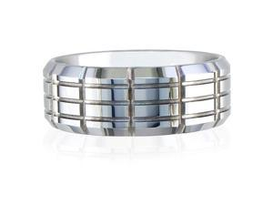 9mm Multi Row Engraved Tungsten Wedding Ring