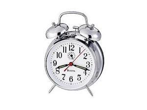 Bulova Travel White Dial Alarm Clock #B8127