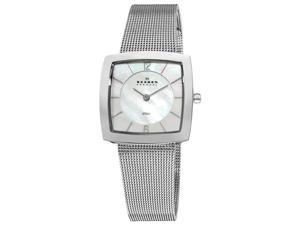 Skagen Square Mesh Silver Band Watch MOP Dial 891SSS