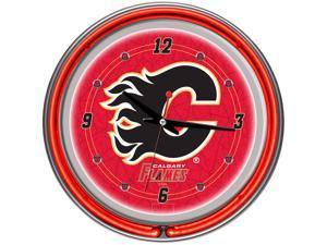 NHL Calgary Flames Neon Clock - 14 inch Diameter