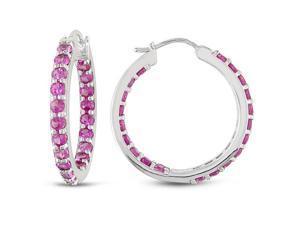 3.6 CT TGW Created Pink Sapphire Hoop Earrings Silver