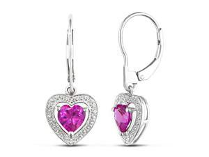 0.01ct Diamond TW and 2ct Created Pink Sapphire TGW Leverback Earrings Silver