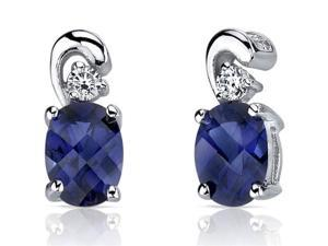 Oravo SE7168 Sleek and Radiant 2.00 Carats Blue Sapphire Earrings in Sterling Silver