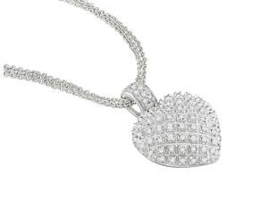 1 CT Diamond Heart Necklace w/ Sterling Silver