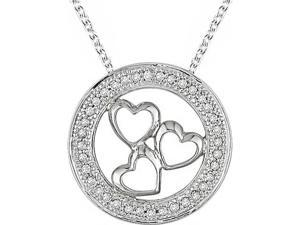 Silver 1/10ct TDW Diamond 3-hearts in Circle Necklace