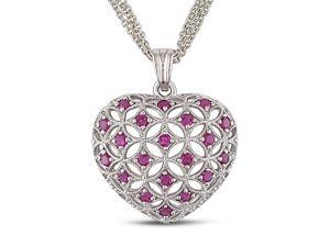 1 CT TGW Created Ruby Silver Heart Pendant with Chain