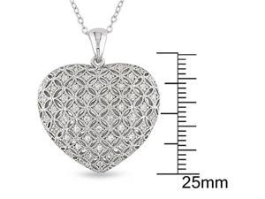 1/2 CT TGW Created White Sapphire Heart Pendant With Chain Silver