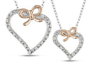 1/5 Carat T.W. Diamond Heart Pendant Set in Sterling Silver, 18""